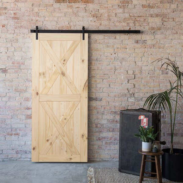 Modern Panelled Wood Slab Interior Barn Door by Belleze