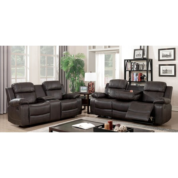 Helfrich Contemporary Leather Manual Wall Hugger Reclining Configurable Living Room Set by Red Barrel Studio