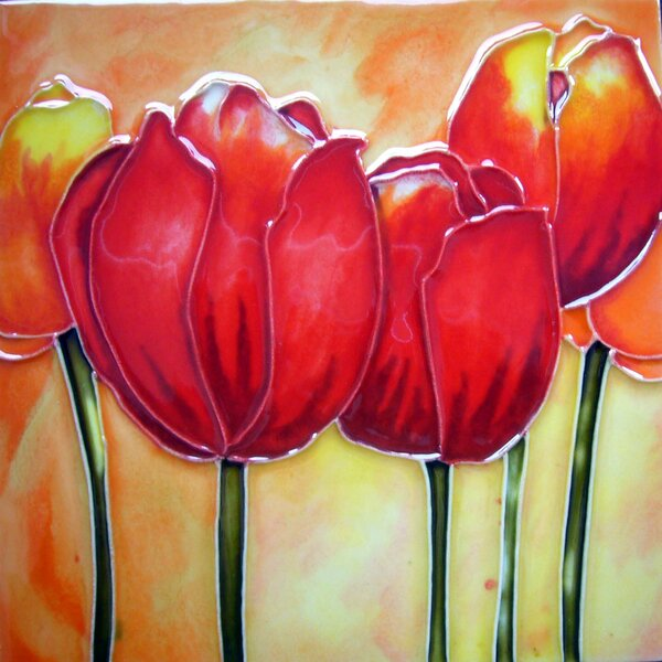 Red Tulips Tile Wall Decor by Continental Art Center