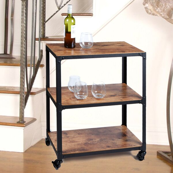 Charm' 3 Tier Wood and Metal Utility Cart by Mind Reader Mind Reader