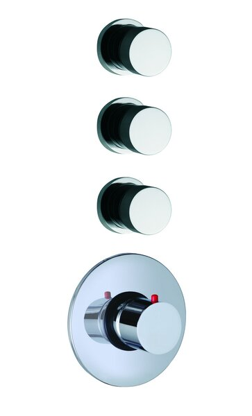 Spillo Built-In Thermostatic Valve Trim with Three Volume Control Handles by Fima by Nameeks