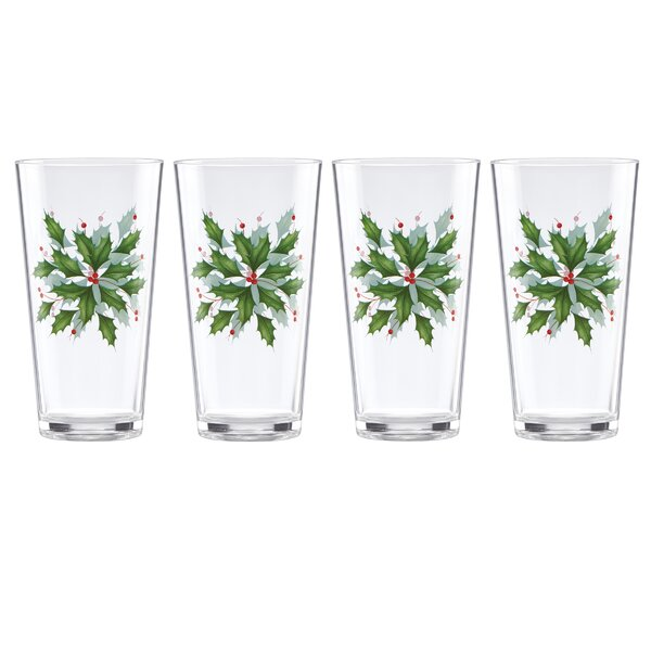 Holiday Melamine 16 oz. Plastic Every Day Glass (Set of 4) by Lenox