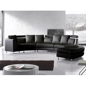 Orren Ellis ORNE4401 Hiep Round Leather Modular Sectional