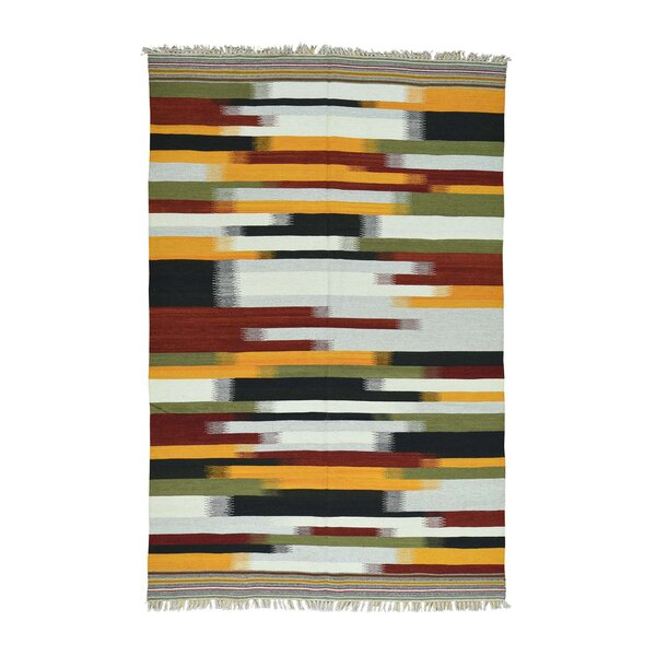 One-of-a-Kind Greenwalt Durie Kilim Flat Weave Hand-Knotted Brown/Red/Blue Area Rug by Bloomsbury Market