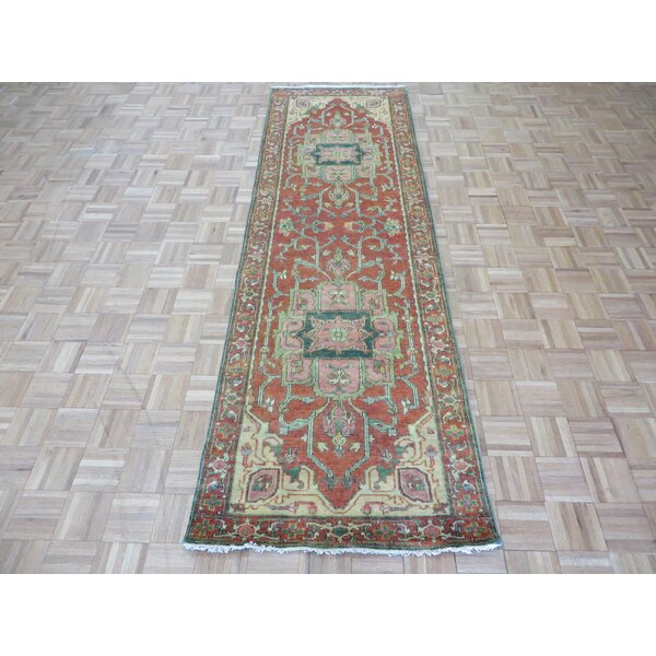 One-of-a-Kind Josephson Antiqued Serapi Heriz Hand-Knotted Wool Rust Orange Area Rug by Canora Grey