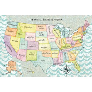 The United States of America Graphic Art on Wrapped Canvas by East Urban Home