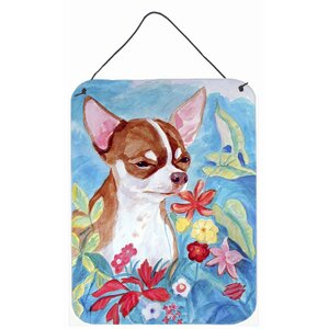 Chihuahua in Flowers by Lyn Cook Painting Print Plaque by Caroline's Treasures
