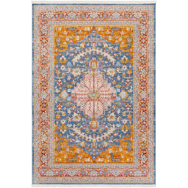 Elvis Traditional Aqua/Saffron/Red Area Rug by Charlton Home