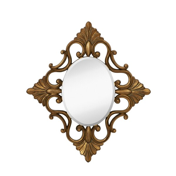 Decorative Oval Accent Mirror with Traditional Antique Gold Leaf Frame by Majestic Mirror