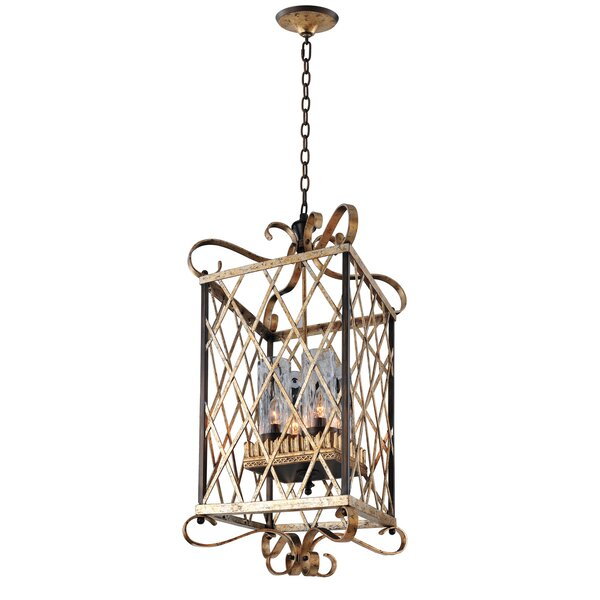 Trellis 4 - Light Lantern Rectangle Chandelier by Kalco Kalco