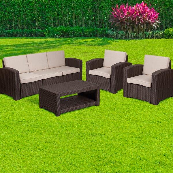 Resendiz 4 Piece Sofa Set with Cushions by Wrought Studio