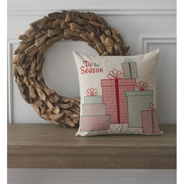 Holiday Whimsical Tis the Season Cotton Throw Pillow by County Road