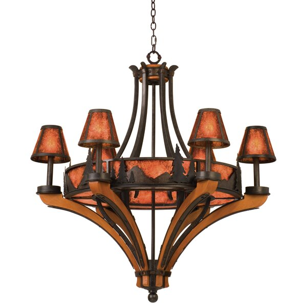 Ansonia 6-Light Shaded Wagon Wheel Chandelier by Millwood Pines Millwood Pines