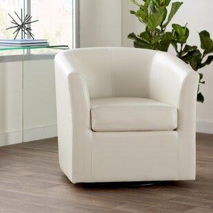 Leather Barrel Swivel Chair   Wayfair
