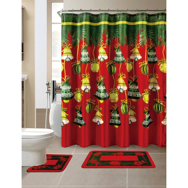 15 Piece Christmas Shower Curtain Set with 12 Hooks by The Holiday Aisle
