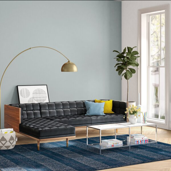 Best Ledger Leather Left Hand Facing Sectional