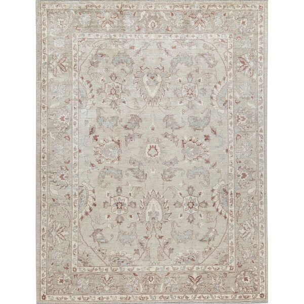 Oriental Hand-Knotted Wool Light Green/Light Green Area Rug