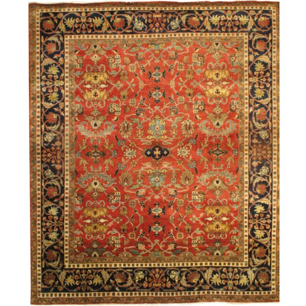 Heriz Fine Design Hand-Knotted Wool Rust/Black Area Rug by Pasargad NY