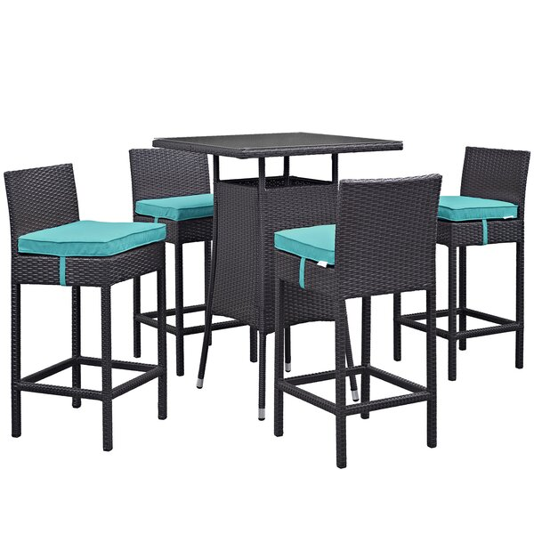 Ryele 5 Piece Bar Height Dining Set with Cushions by Latitude Run