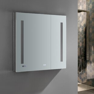 Reviews Tiempo 30 x 30 Recessed or Surface Mount Frameless Medicine Cabinet with LED Lighting and Defogger By Fresca