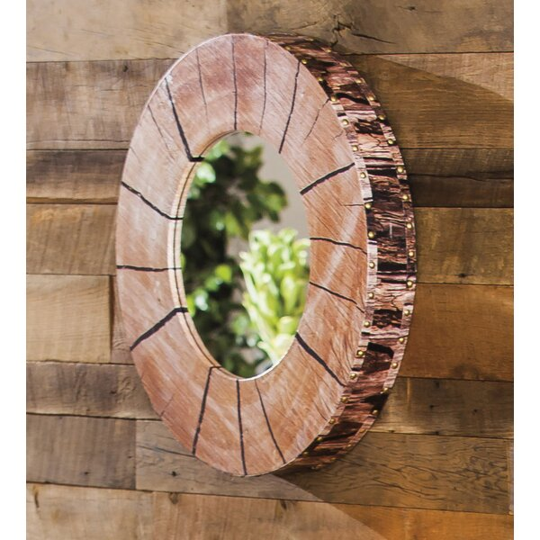 Faux Tree Section and Bark Wooden Accent Mirror by Loon Peak