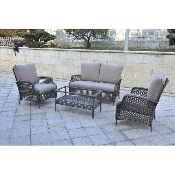 Cleghorn 4 Piece Rattan Sofa Seating Group with Cushions by Bungalow Rose
