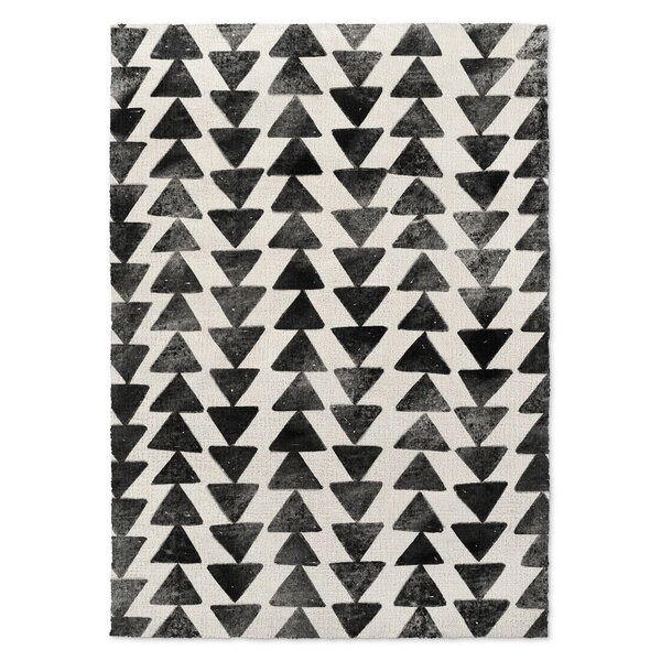 Foulks Black/Ivory Area Rug by Harriet Bee