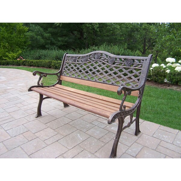 Robertsdale Wood and Cast Iron Park Bench by Fleur De Lis Living Fleur De Lis Living