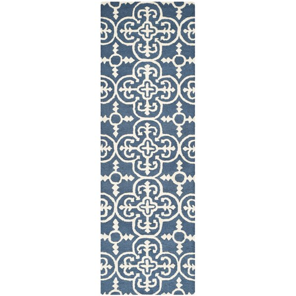 Byron Navy Blue /Ivory Tufted Wool Area Rug by Three Posts