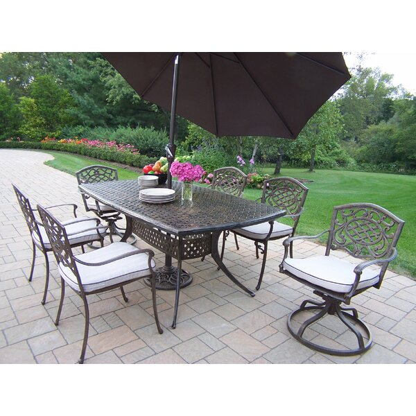 Oxford Mississippi 7 Piece Dining Set with Umbrella by Oakland Living