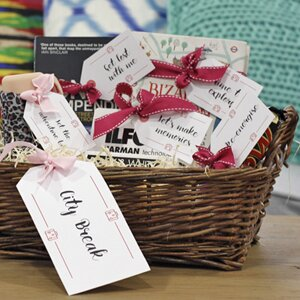 Diy hampers 10 free sets of printable gift tags wayfair a closeup of a diy gift hamper filled with homemade gifts and free printable gift tags solutioingenieria Choice Image