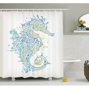 Great Price Animal Greek Art Textured Ancient Seahorse Idol of Spiritual Life Cycle Artwork Shower Curtain Set ByAmbesonne