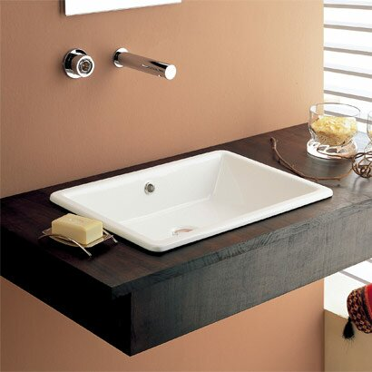 Gaia Ceramic Rectangular Drop-In Bathroom Sink wit