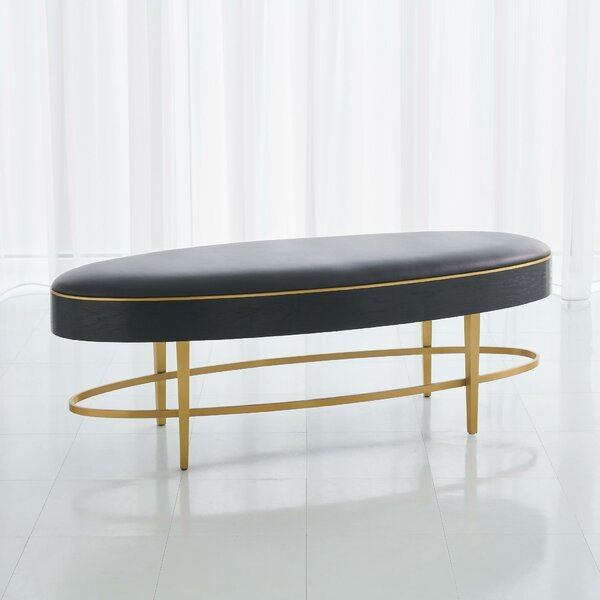 Ellipse Faux Leather Bench by Global Views Global Views