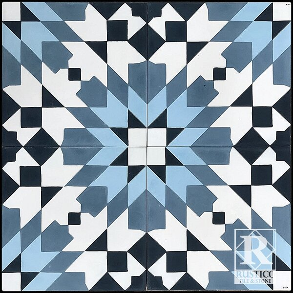 MeaLu Casablanca 8 x 8 Cement Field Tile in Blue/White (Set of 4) by Rustico Tile & Stone