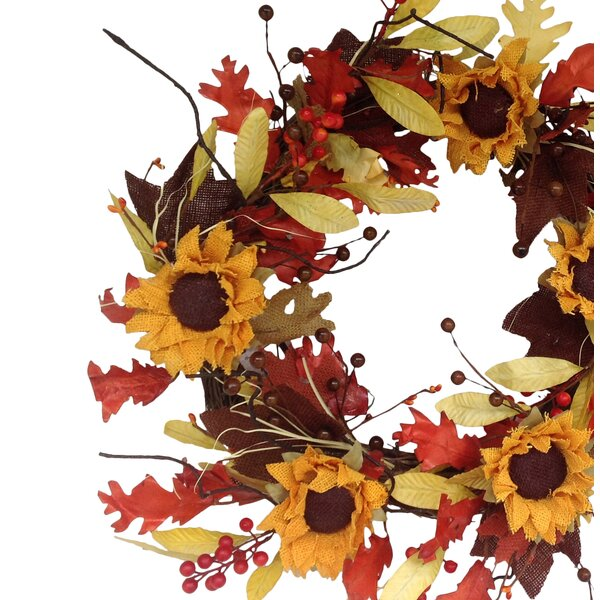 Burlap Sunflower Leaf Wreath by Mills Floral