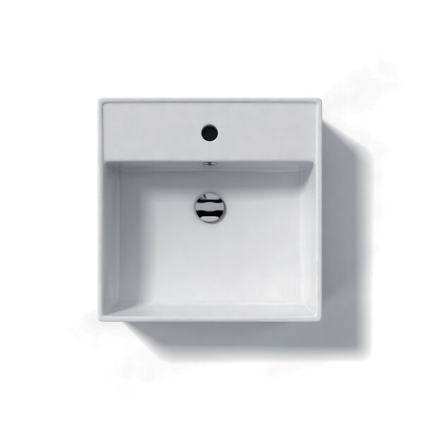 Ceramica Ceramic Square Vessel Bathroom Sink with Overflow by WS Bath Collections