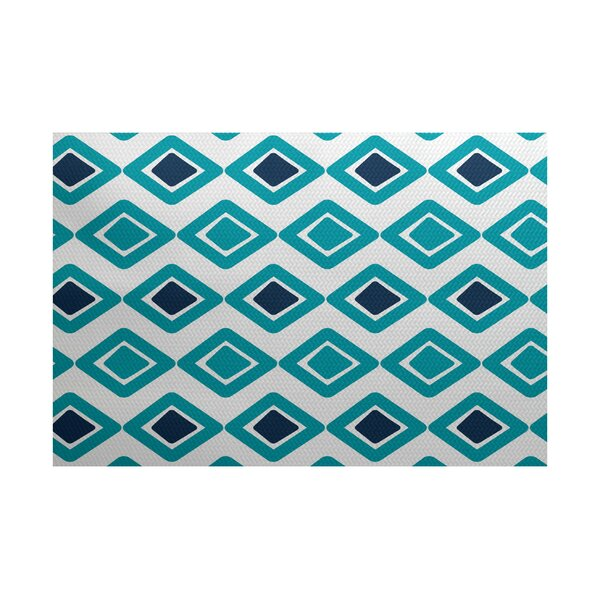 Abbie Flat Woven Diamond Blue Indoor/Outdoor Area Rug by Ebern Designs