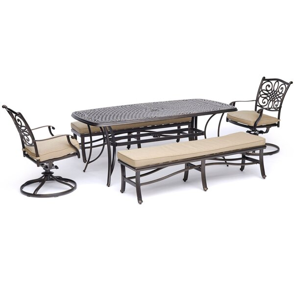 Bottomley 5 Piece Dining Set with Cushions by Three Posts