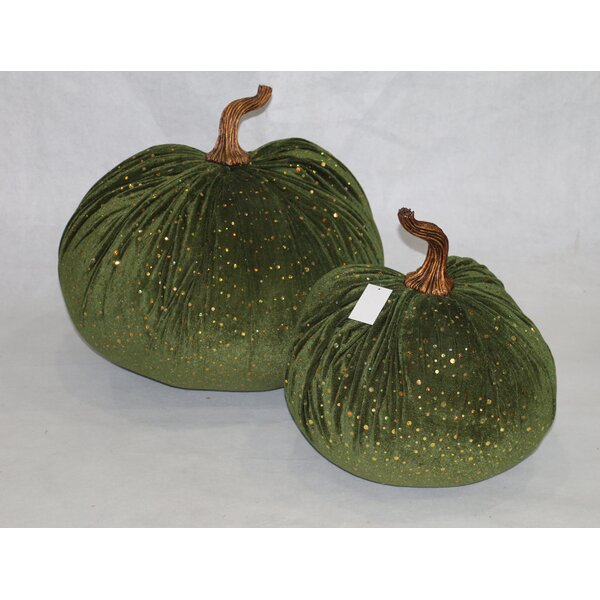 2 Piece Bling Sequins Accented Velvet Inflatable Pumpkin Set by RG Style