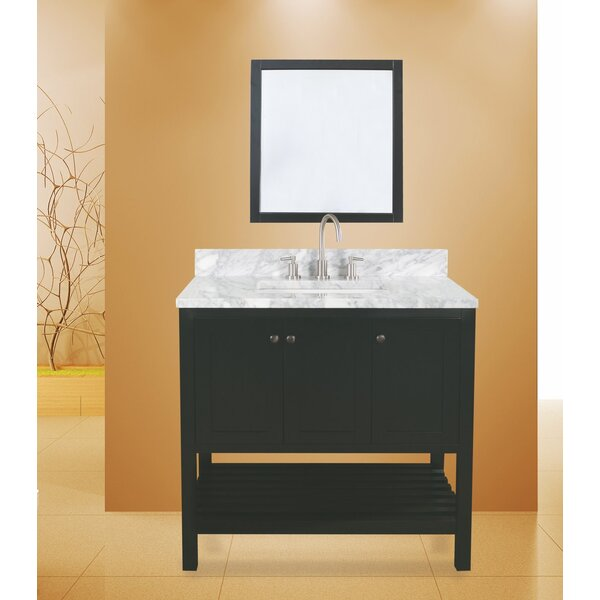 Hampton Bay 36 Single Bathroom Vanity with Mirror by NGY Stone & Cabinet