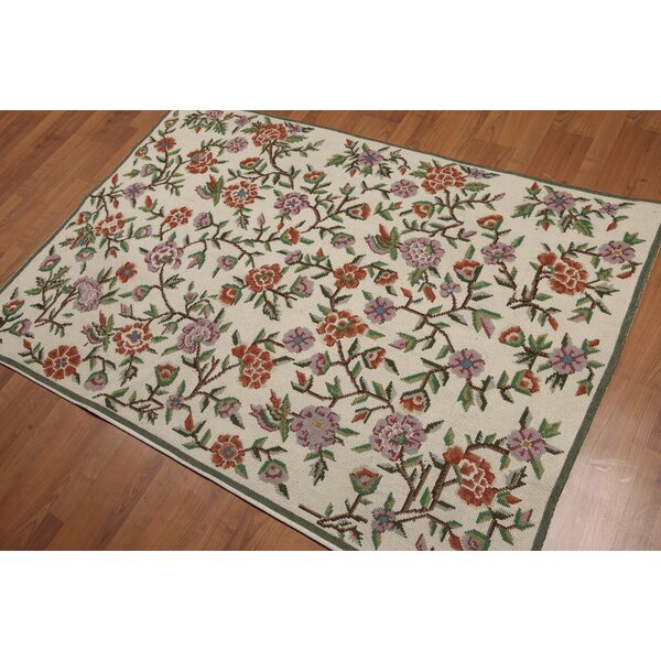 One-of-a-Kind Knap Needlepoint Hand-Woven Beige/Green/Brown Area Rug by Alcott Hill