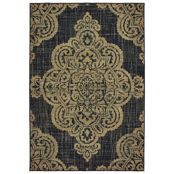 Salerno Over-scale Medallion Tan Indoor/Outdoor Area Rug by Charlton Home