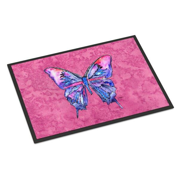 Butterfly on Pink Non-Slip Indoor Door Mat