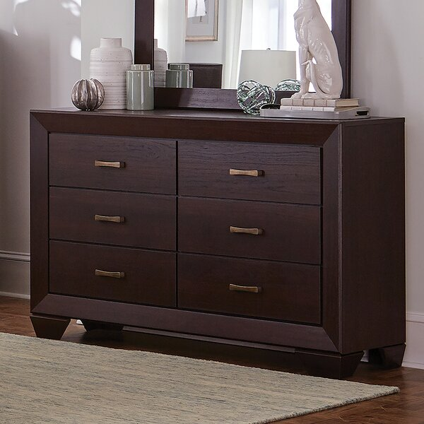 Mailiah 6 Drawer Double Dresser with Mirror by Foundry Select