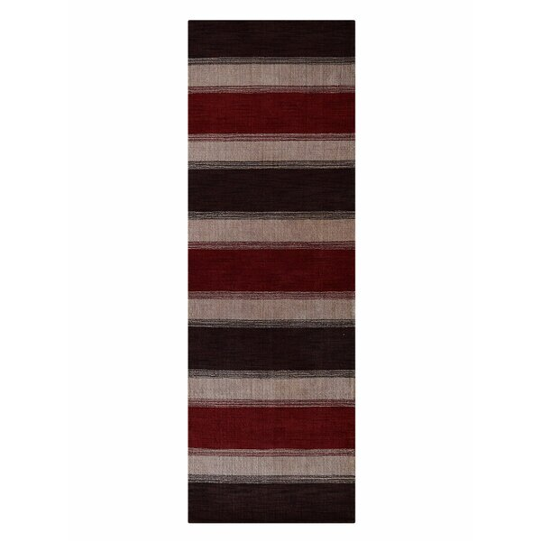 Ry Hand-Woven Wool Brown/Red/Gray Area Rug by Latitude Run