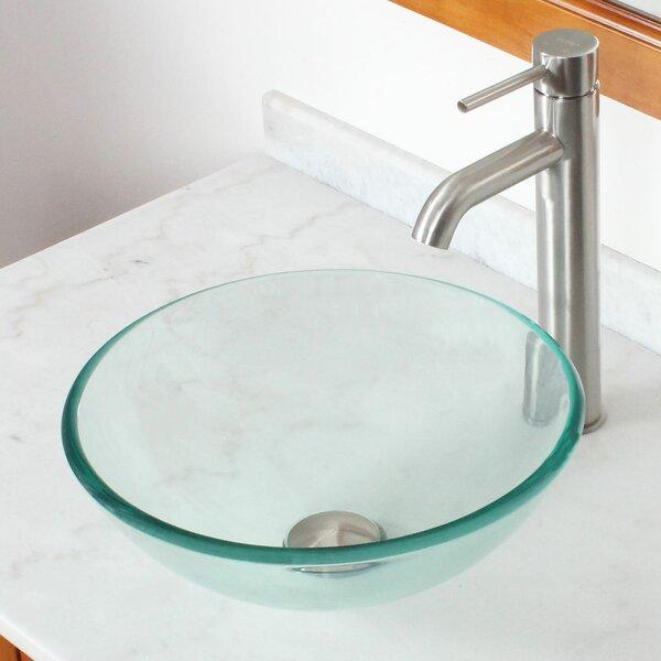 Tempered Glass Circular Vessel Bathroom Sink by Elite