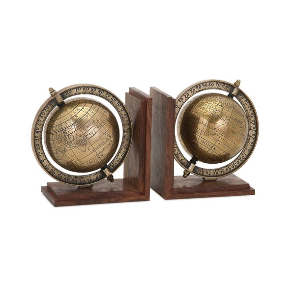 Classy Globe Bookends (Set of 2) by Darby Home Co