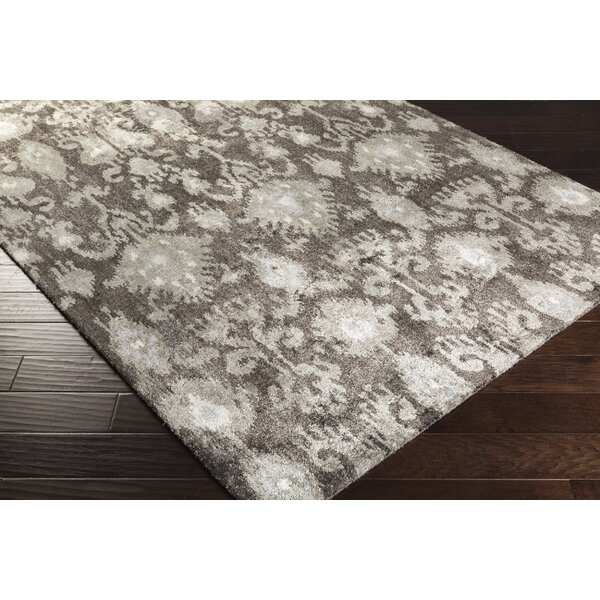 Harbor View Charcoal/Ivory Ikat Area Rug by Ivy Bronx