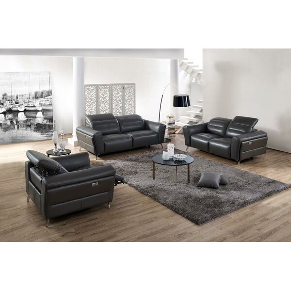 Paille Reclining 3 Piece Leather Living Room Set by Orren Ellis